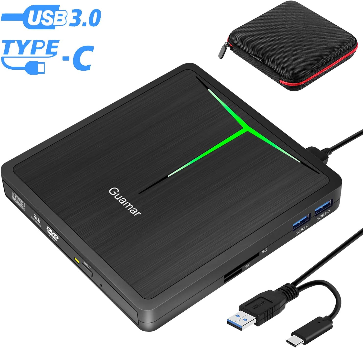 External DVD Drive Guamar 5 in 1 USB 3.0 USB C CD/DVD +/- RW Burner Writer Player Portable Optical Drive for Laptop/MacBook/Desktop/Windows/PC Support SD/TF Card Reader/USB 3.0 Transfers (Black)