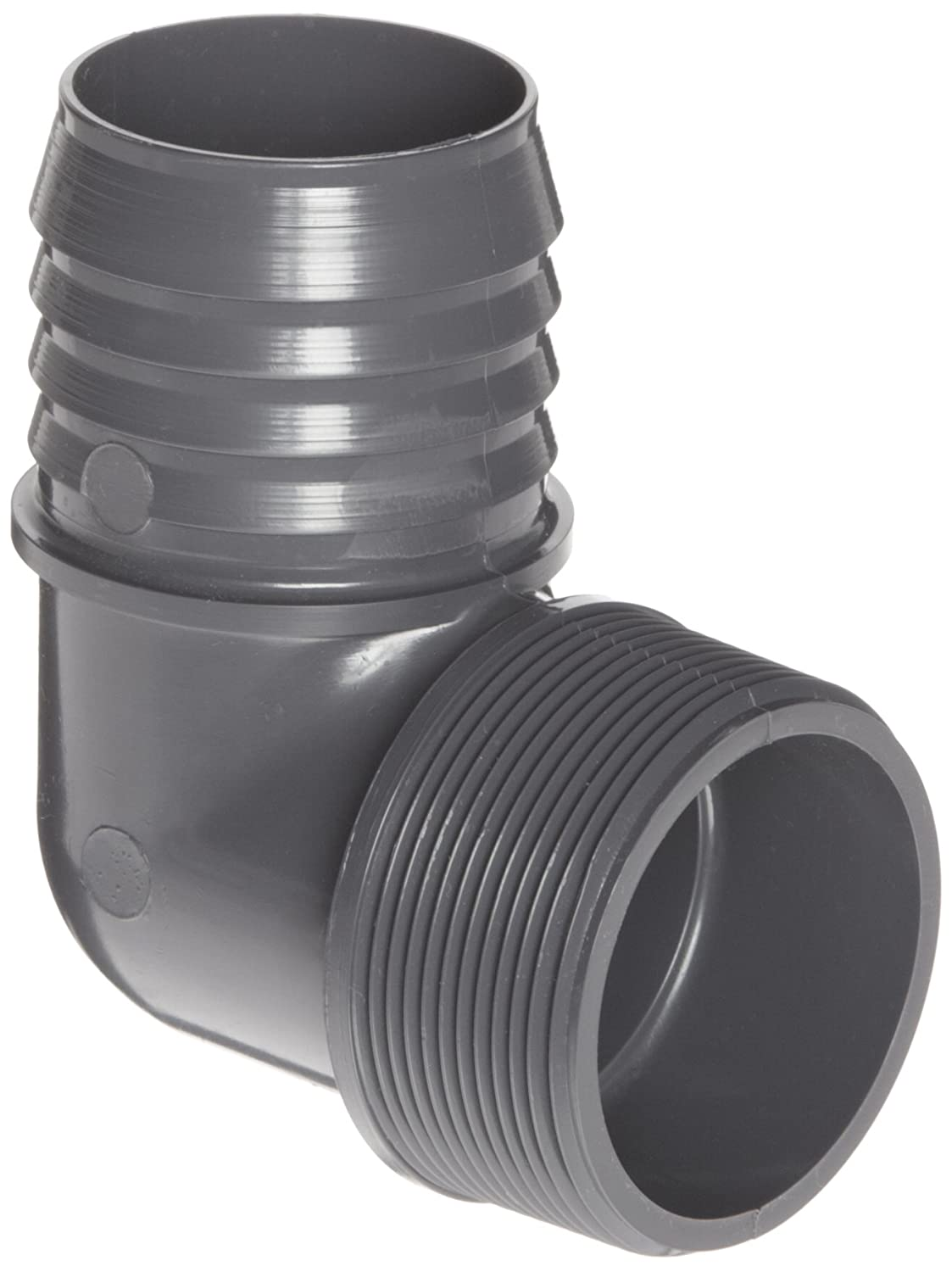 "Spears 1413 Series PVC Tube Fitting, 90 Degree Elbow, Schedule 40, Gray, 1/2"" Barbed x NPT Male"