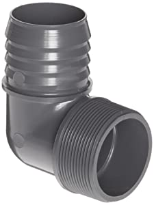 "Spears 1413 Series PVC Tube Fitting, 90 Degree Elbow, Schedule 40, Gray, 1-1/2"" Barbed x NPT Male"