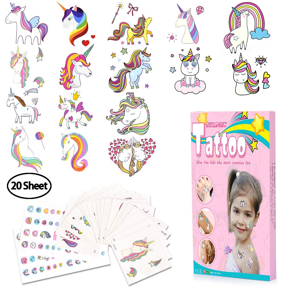 HOTFIT Tattoo Kinder, 20 Sheet Einhorn Kinder Tattoo Set kindertattoos Temporäre Tattoos für Kindergeburtstag Einhorn Party + Nagelsticker + Ballon (Einhorn # 1)