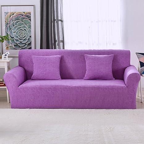 Funda elástica protectora y antideslizante de poliéster para sillones de 1, 2, 3 o 4 plazas, Morado, 3 Seater:195-230cm