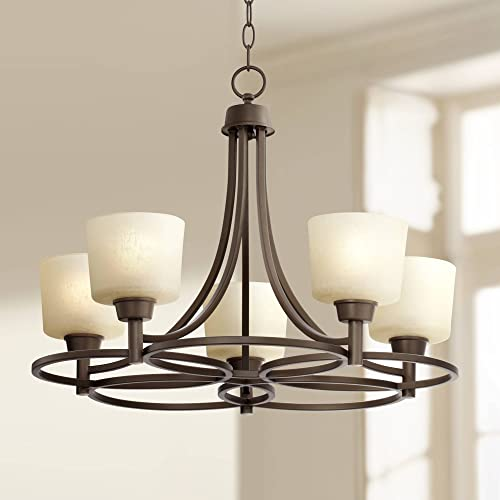 "Whitfield Oil Rubbed Bronze Chandelier 23"" Wide Glass Shades 5-Light Fixture"