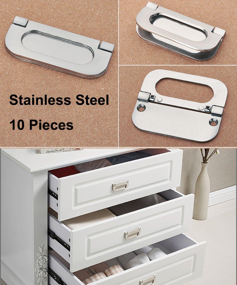 Acciaio inossidabile viti incluse 10 pezzi Maniglie invisibili Maniglie e pomelli cassetti per ante di mobili