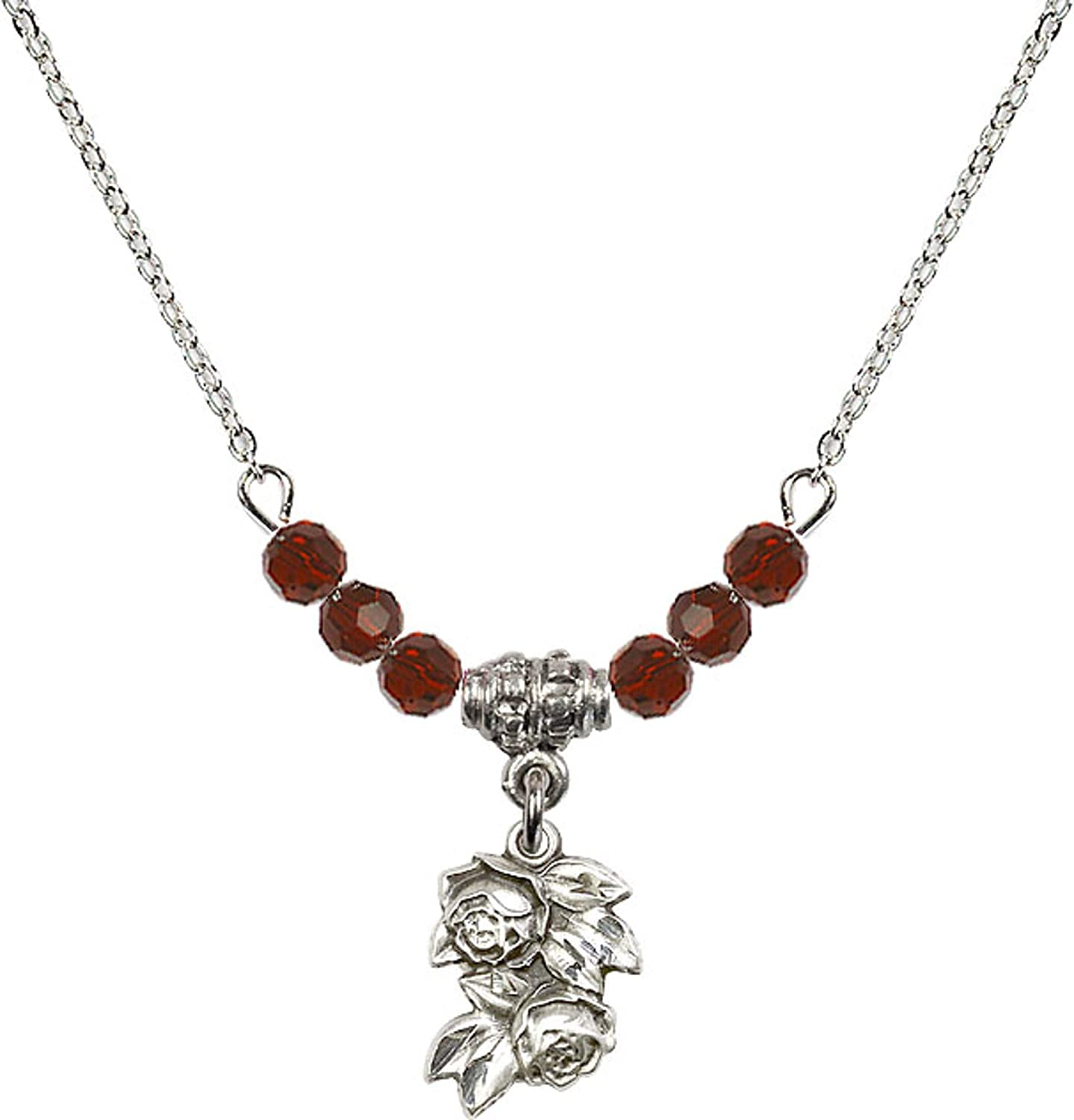 Bonyak Jewelry 18 Inch Rhodium Plated Necklace w// 4mm Red January Birth Month Stone Beads and Rose Charm