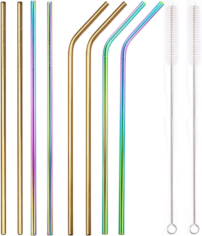 dritte e piegate cannuccia in metallo senza BPA Gold riutilizzabili ecologiche Colorful diametro 6 mm 21,6 cm Cannucce in acciaio inox riutilizzabili