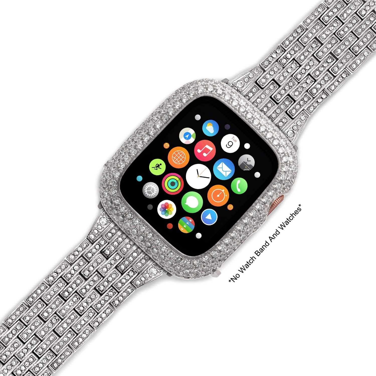 iRepair Sparkling Crystal Diamond Case Cover Bezel Compatible with Apple Watch Series 3 Series 2 - Silver (42mm)
