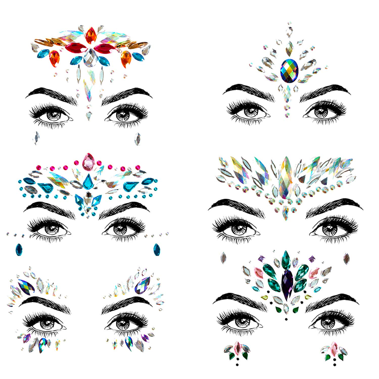 Face Jewelry Stickers Rhinestone Tattoo, Temporary Self Adhesive Face & Body Jewels with Primer gel For Festival