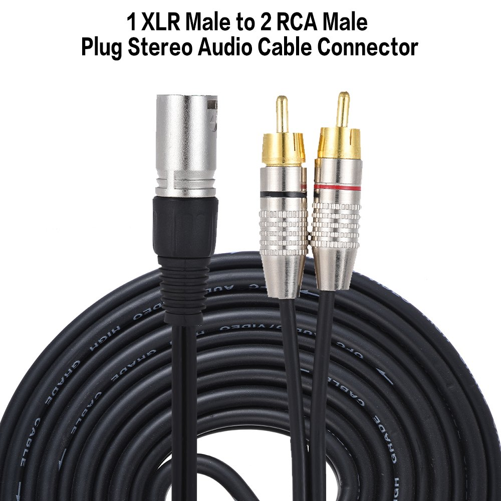 Ammoon 1 Xlr Male To 2 Rca Plug Stereo Audio Cable Unbalanced Balanced Wiring Further Microphone Connector Y Splitter Wire Cord 5 Meters 164ft For Mixing Console