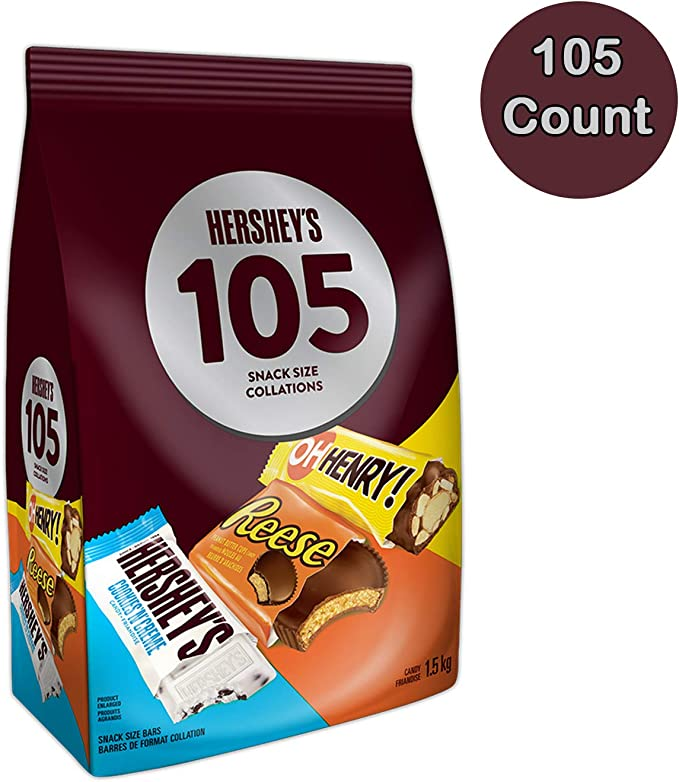 HERSHEY'S 105ct Assorted Christmas & Holiday Chocolates- 1.5kg- Includes Reese, OH Henry! & HERSHEY'S Snack Sized Candy Bars