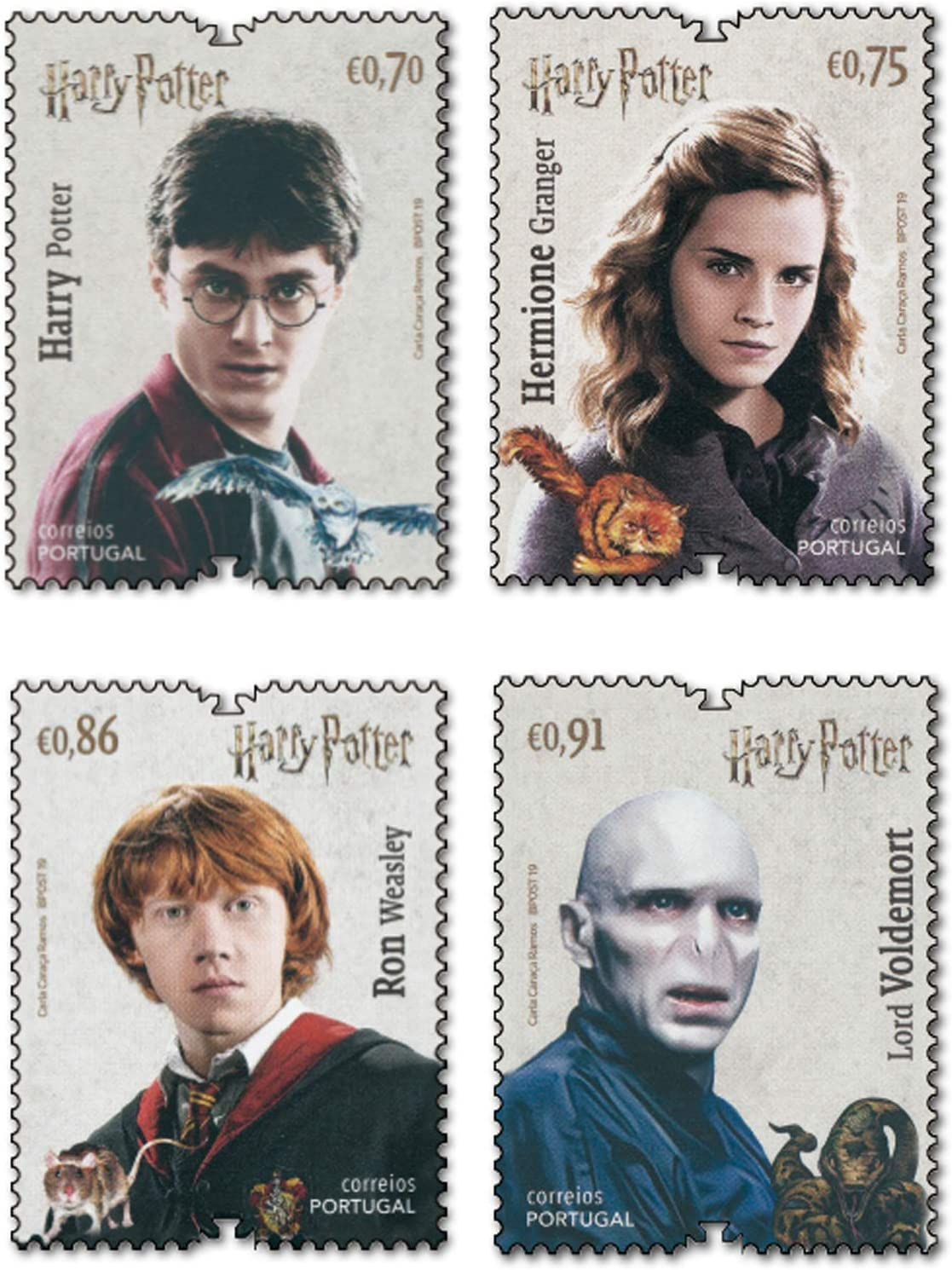 Portugal 4 Briefmarken Hermine Granger postfrisch Lord Voldemort Ron Weasley Harry Potter 2019
