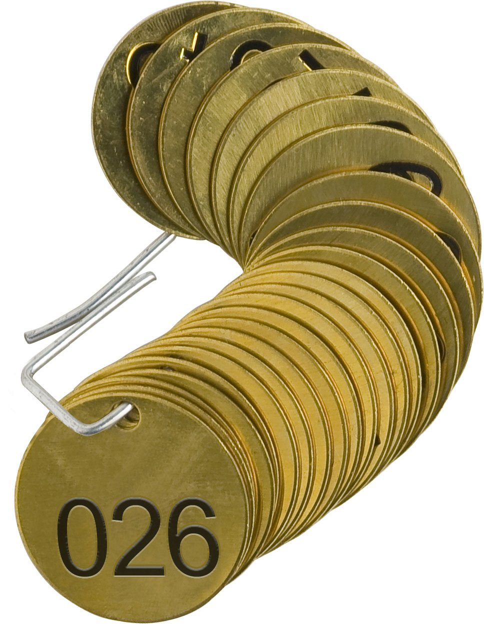 Brady 23201 1-1/2'' Diameter, B-907 Brass, Brass Color, Number Sequence 026-050 Round Stamped Brass Valve Tags, Top Line Legend (Blank) (Pack Of 25)