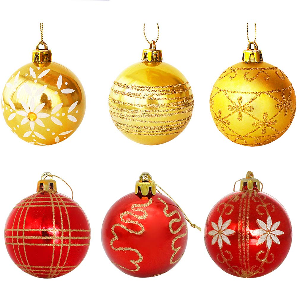 Amazon.com: WizPower Christmas Ball Ornaments, Luxury Collection Red ...