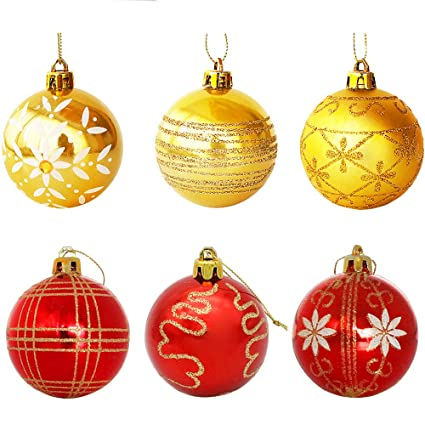 WizPower Christmas Ball Ornaments, Luxury Collection Red Gold Shatterproof  Christmas Tree Ball Ornaments, 2.36&quot - Amazon.com: WizPower Christmas Ball Ornaments, Luxury Collection Red