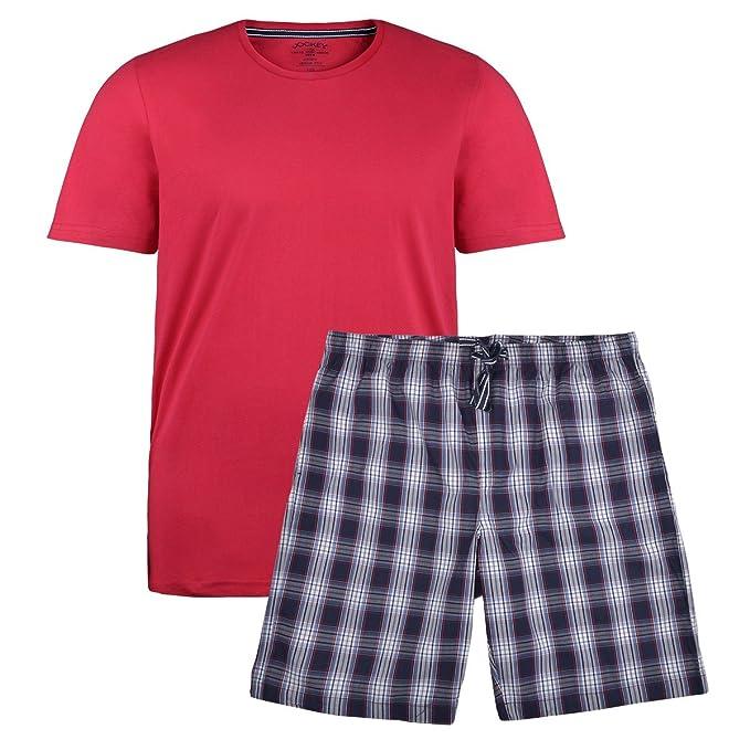 Jockey Pijama Corta de Cuadros Rojos-Azules Oversize, 2xl-8xl:2XL