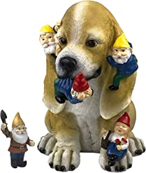 by Mark & Margot - Mischievous Cat Garden Gnome Statue Figurine - Best Art Décor for Indoor Outdoor Home Or Office (One Size, Mischievious Dog)