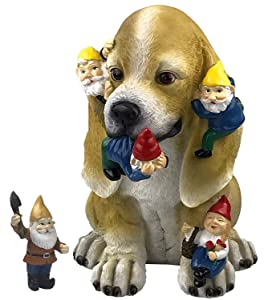by Mark & Margot - Dog Gnome Statue Garden Figurine Mischievous Cat Massacre Companion - Best Art Décor for Indoor Outdoor Home Or Office (One Size, Mischievious Dog)