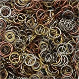 Open Jump Rings, Assorted 4-10mm Size Mix, 50-80 Pieces 7.5 Grams, Multi-Colored
