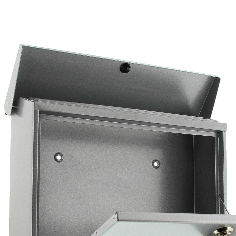 Wei/ß BURG-W/ÄCHTER Briefkasten-Set mit Zeitungsbox A4 Einwurf-Format Verzinkter Stahl Set Vario W