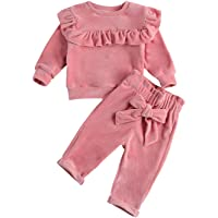 Infant Baby Girl Fall Winter Outfit Solid Long Sleeve Ruffle Sweatshirt and Pants Sweatsuit Tracksuit 2PCS Clothes Set