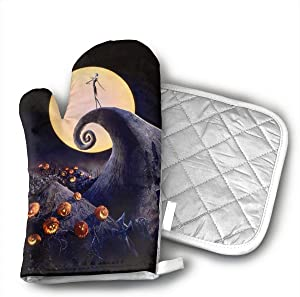MEILVWEN The Nightmare Before Christmas Oven Mitt and Pot Holder Set,Heat Resistant for Cooking and Baking Kitchen Gift