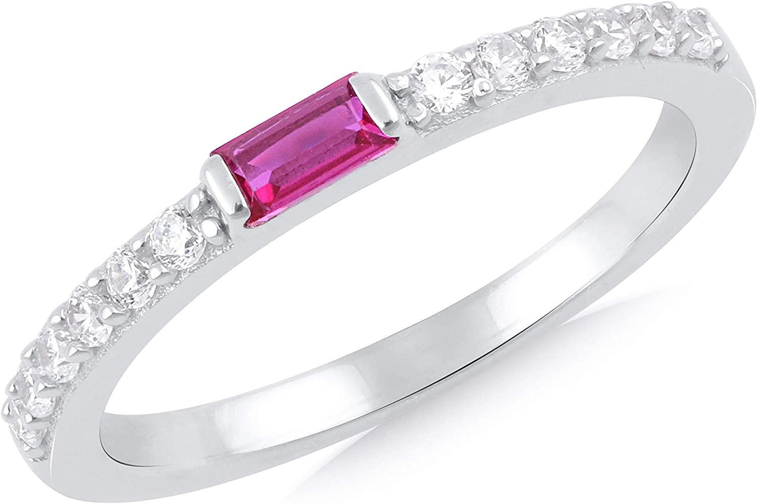 Silgo 925 Sterling Silver Rhodium Plated Pink & White Cubic Zirconia Gemstone Eternity Ring for Women