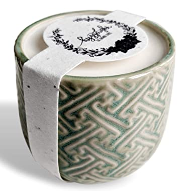 Hyggelight The Growing Candle - Wildflower Seed Embedded Label, Reuse Ceramic Pot, Grow Flowers, Less Waste, 100% Soy Candle, 10oz - Created IDA - Lavender