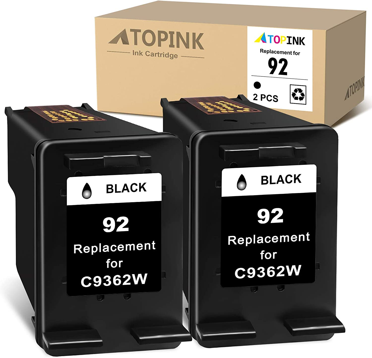 ATOPINK Remanufactured Ink Cartridge Replacement for HP92 92 Compatible with C3150 7850 C3180 C3190 C3140 Deskjet 5440 5420 PSC 1507 1510 1513 2525 Offcejet 6310XI 6310 6313 Printer (2 Black ) 2PCs