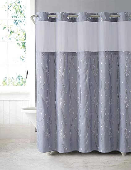 Arcs Angles Hookless RBH40MY081 Cherry Bloom Shower Curtain With Peva Liner