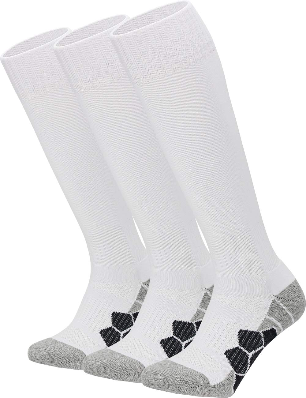 Youth Kids Adult Knee High Cotton Athletic Socks Boys Girls Parent-Child Outdoor Active Long Towel Bottom Socks, 3-Pair White, Size L (Kids 9C-13C / W 10-13 / M 8-12) by APTESOL