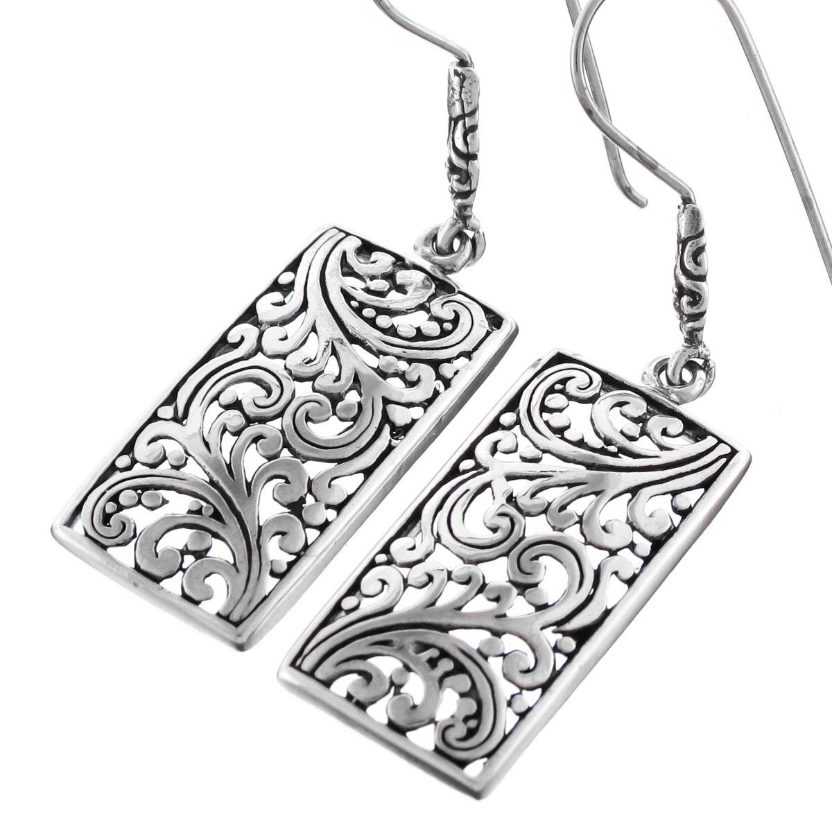 Bali Scrollwork Filigree Rectangle 925 Sterling Silver French Wires Drop Earrings