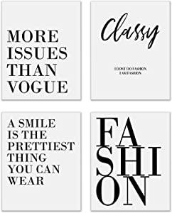 Monochrome Fashion Prints - Set of 4 (8x10 Inches) Vogue Coco Chanel Inspirational Motivational Black and White Typography Quotes Wall Art Decor