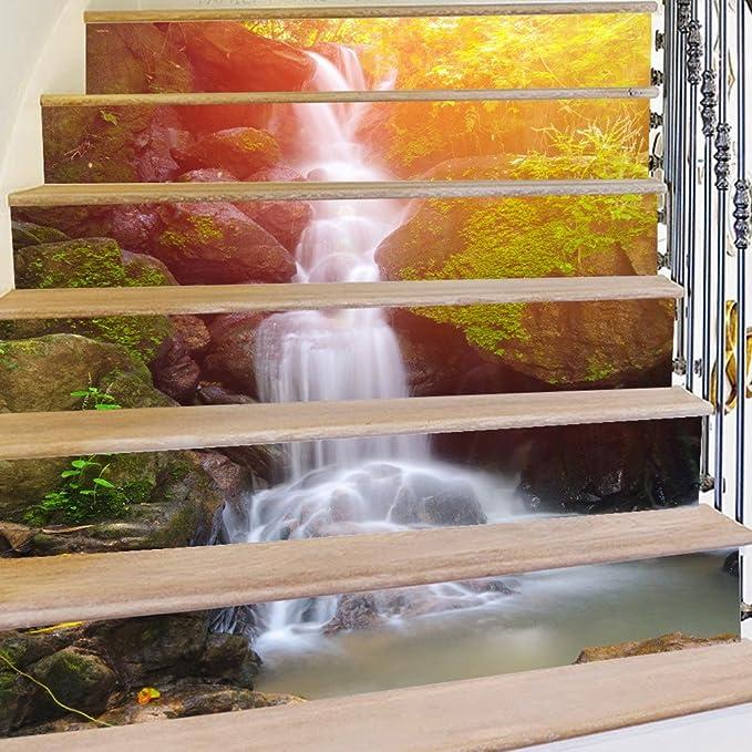 SASA 3D Cascada Bosque Paisaje Escalera Etiqueta Auto Viscosa Agua impermeabilización-DIY restaurado Pegatinas de Escalera 39.3