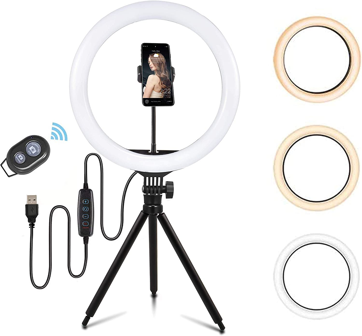 13'' LED Desktop Selfie Ring Light with Tripod Stand & Cell Phone Holder for Live Stream/Makeup, Dimmable Desk Makeup Ring Light for YouTube Video/Photography Compatible for iPhone and Android