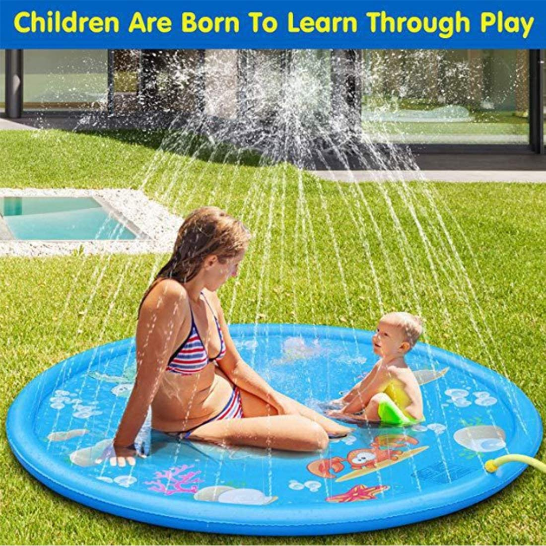 Sprinkler for Kids,Splash Pad Baby Wading Pool for Toddlers , Summer Outdoor Toys Water Mat Toys Inflatable Wading Swimming Pool for 1-12 Year Old Girls Boys Children 68