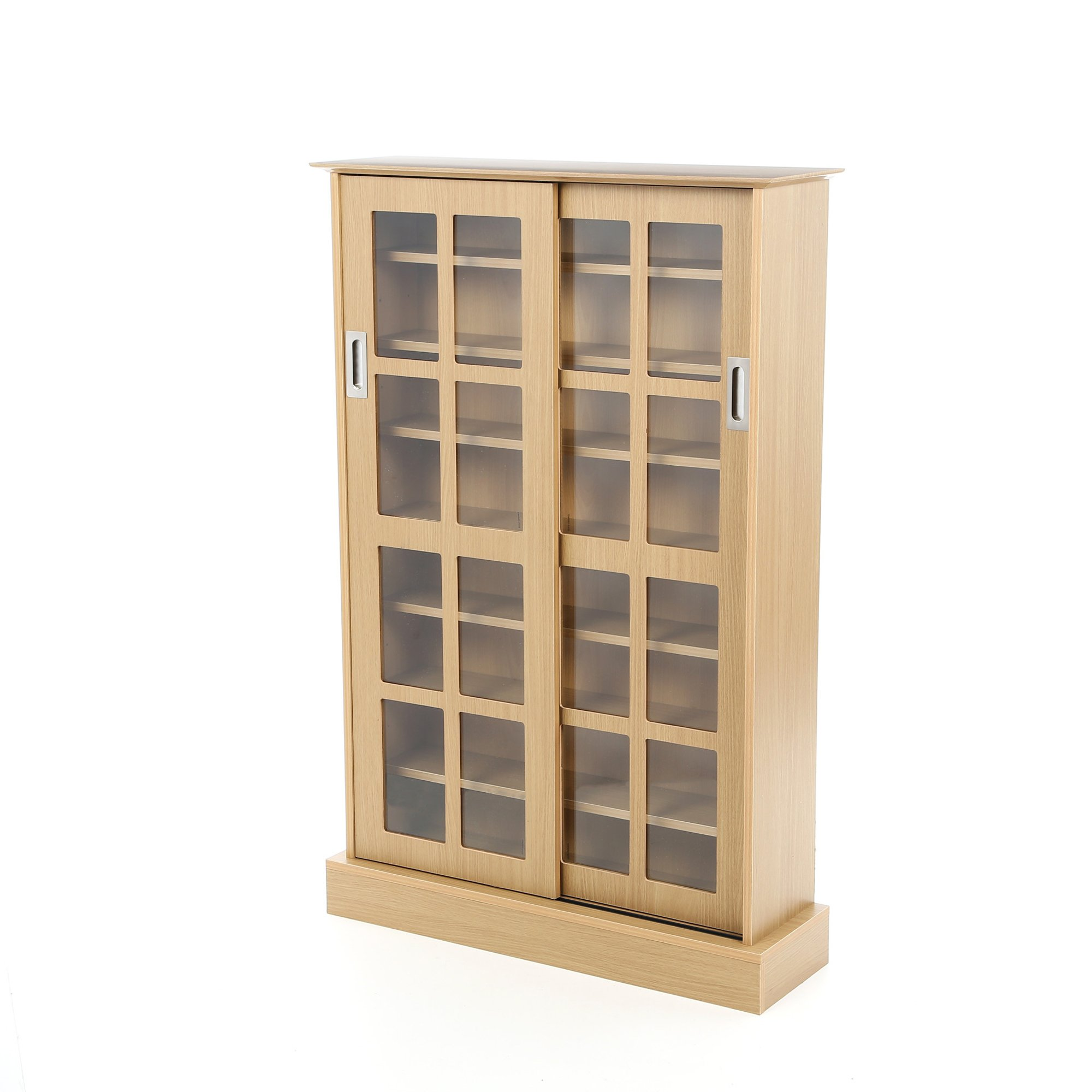 Multimedia Storage Cabinet With Sliding Glass Doors - Holds 576 CD or 192 DVD - Tall Contemporary Media Organizer (Maple)