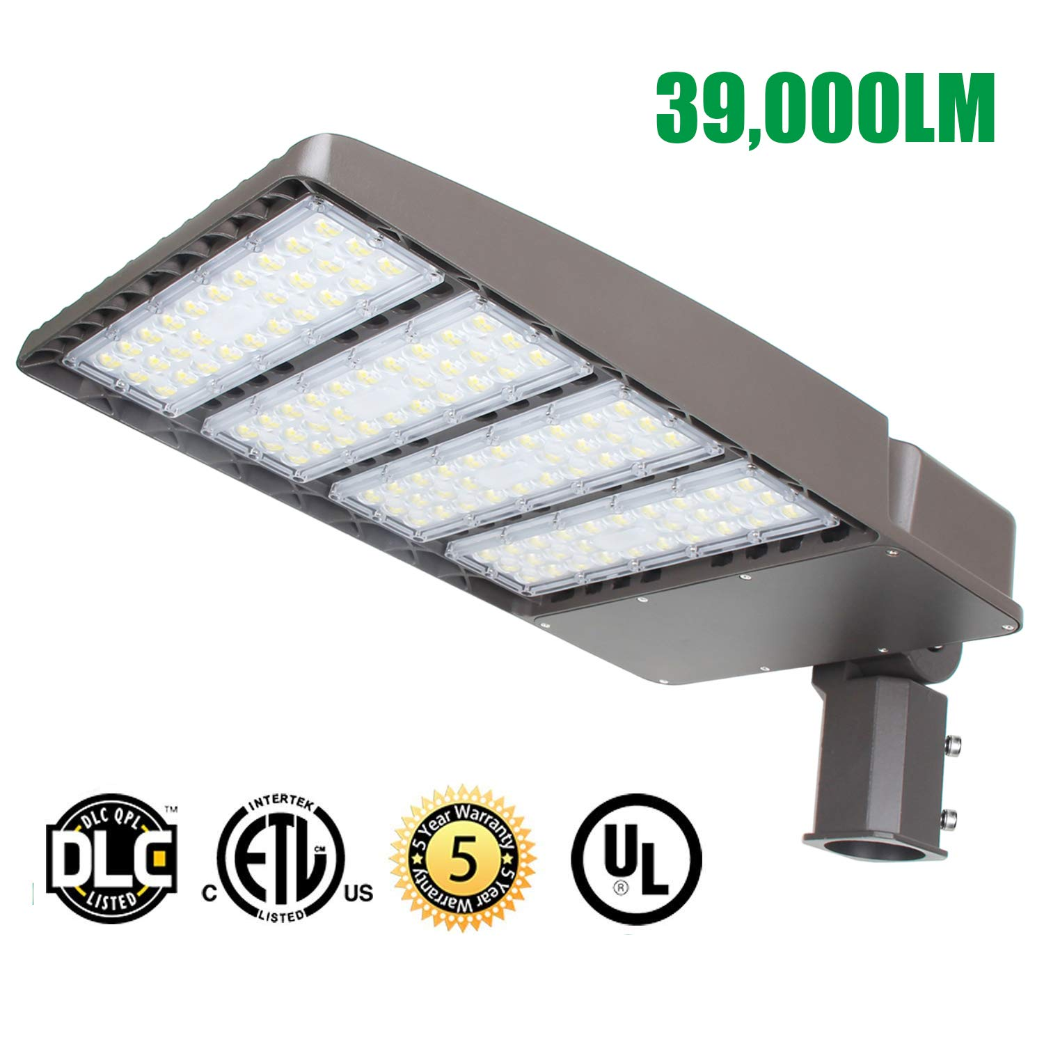 LED Parking Lot Lights 300W, 39000LM LED Shoebox Pole Lights Fixture (1000W HID/HPS Replacement) 5700K, IP65, AC 100-277V, UL DLC Listed, Outdoor Area Street Security Lighting for Stadium, Roadways