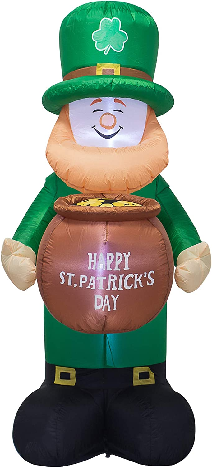 AJY 6 Feet St. Patrick's Day Inflatable Leprechaun Holding a Cylinder Blow Up Indoor Outdoor Yard Lawn Decoration