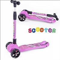 BAYTTER Kinderscooter Dreirad mit verstellbarem Lenker Kinderroller Roller Scooter LED Blinken für Kinder ab 3 4 5 Jahren, bis 100kg belastbar (Modell B in Rosa)