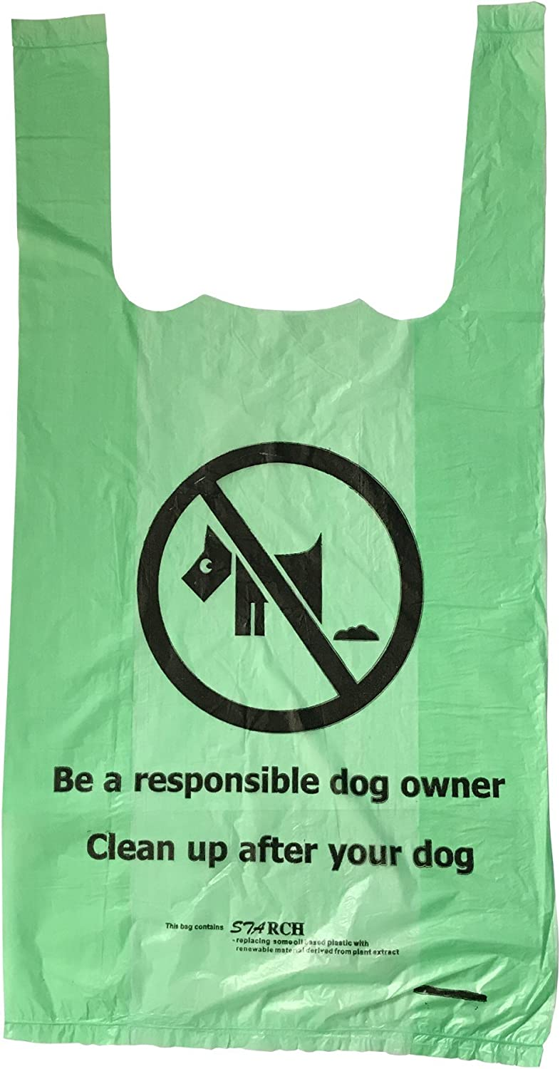 500 x Green biodegradable tie handle dog wastedoggy poo poop bags (12