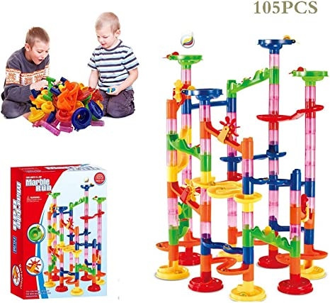 105pcs Kids DIY Marble Race Run Construction Toy Maze Ball Track Building Blocks