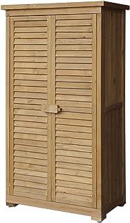 Merax Wooden Garden Shed Wooden Lockers with Fir Wood (Natural Wood Color u2013Shutter Design & Amazon.com : Merax Wooden Outdoor Garden Shed with Fir Wood Medium ...