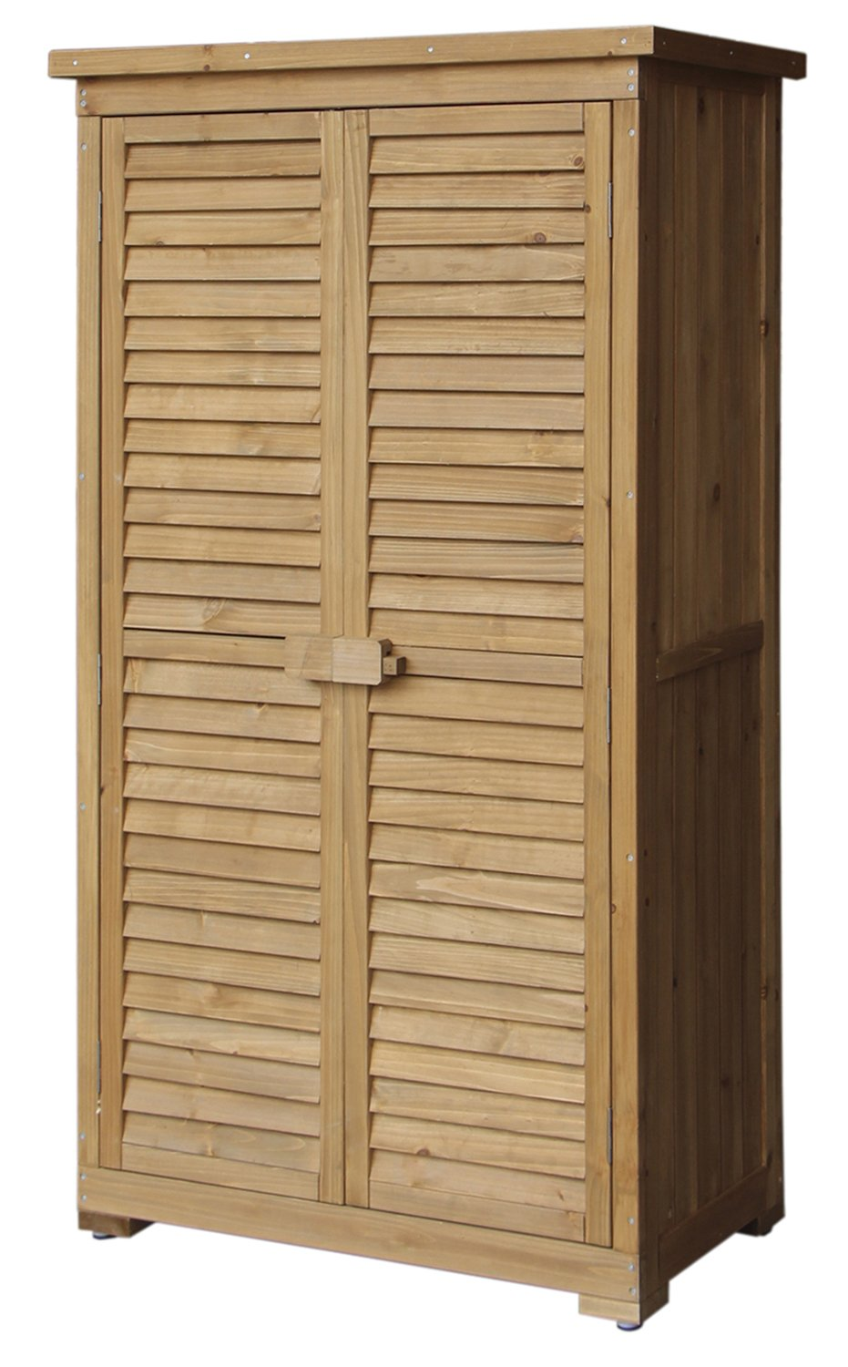 Merax Wooden Garden Shed Wooden Lockers with Fir wood (Natural wood color –Shutter design)