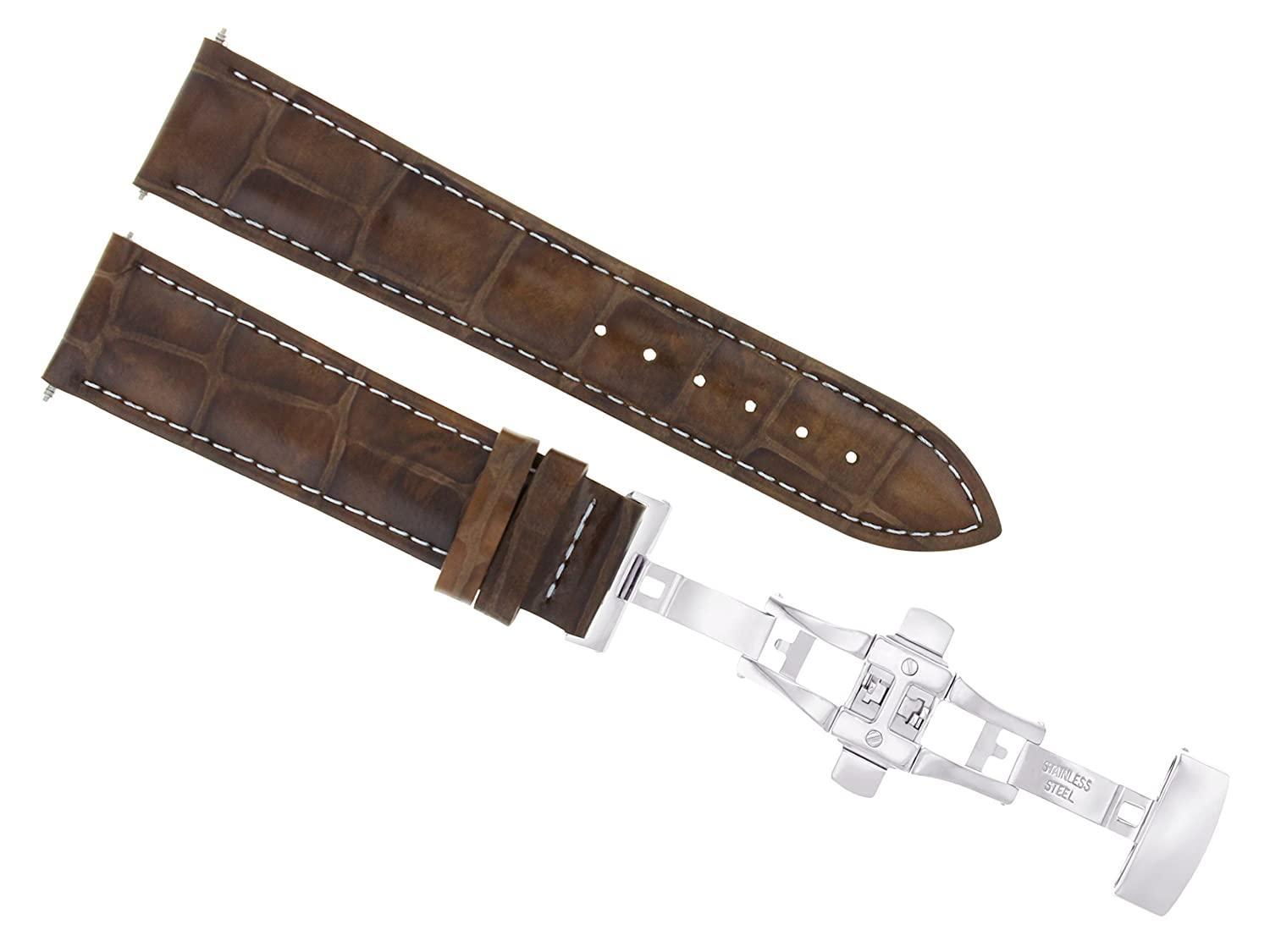18,19,20,20,21,22,24 MMレザーバンドストラップSmooth Deployment Clasp for Sony 3b 22mm Light Brown with white stitching  Light Brown with white stitching 22mm B07DHN1JLT