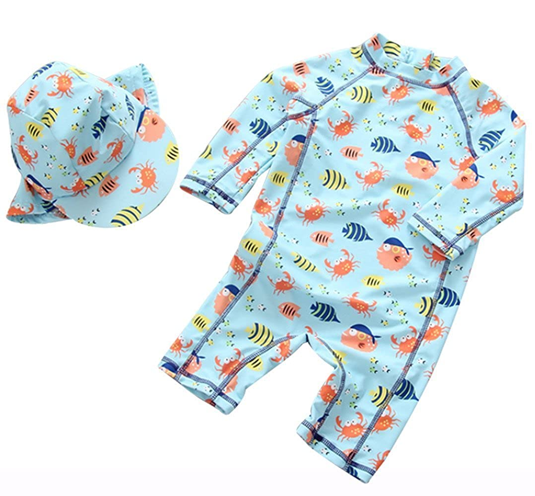 Merrybaby Kids Baby Boys Girl One-Pieces Rash Guard Long Sleeve Swimsuit Sun Protection Bathing Suit