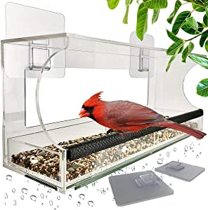Foxup Window Bird Feeders with Sliding Feed Tray for Outside, Never Falling Off, Large Outside Bird Feeder for Wild Birds, Hanging Birdhouse Kit, Drain Holes, Super Strong Hooks
