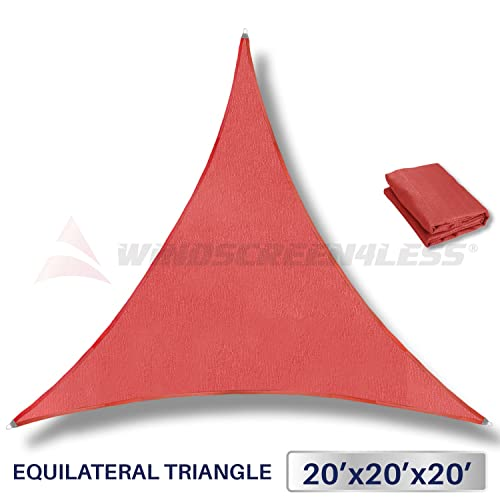 Windscreen4less Metal Spring Reinforcement Large Sun Shade Sail Equilateral Triangle Heavy Duty Strengthen Durable Perfect for Outdoor Canopy UV Block Fabric 5 Year Warranty 20 x 20 x 20 – Red