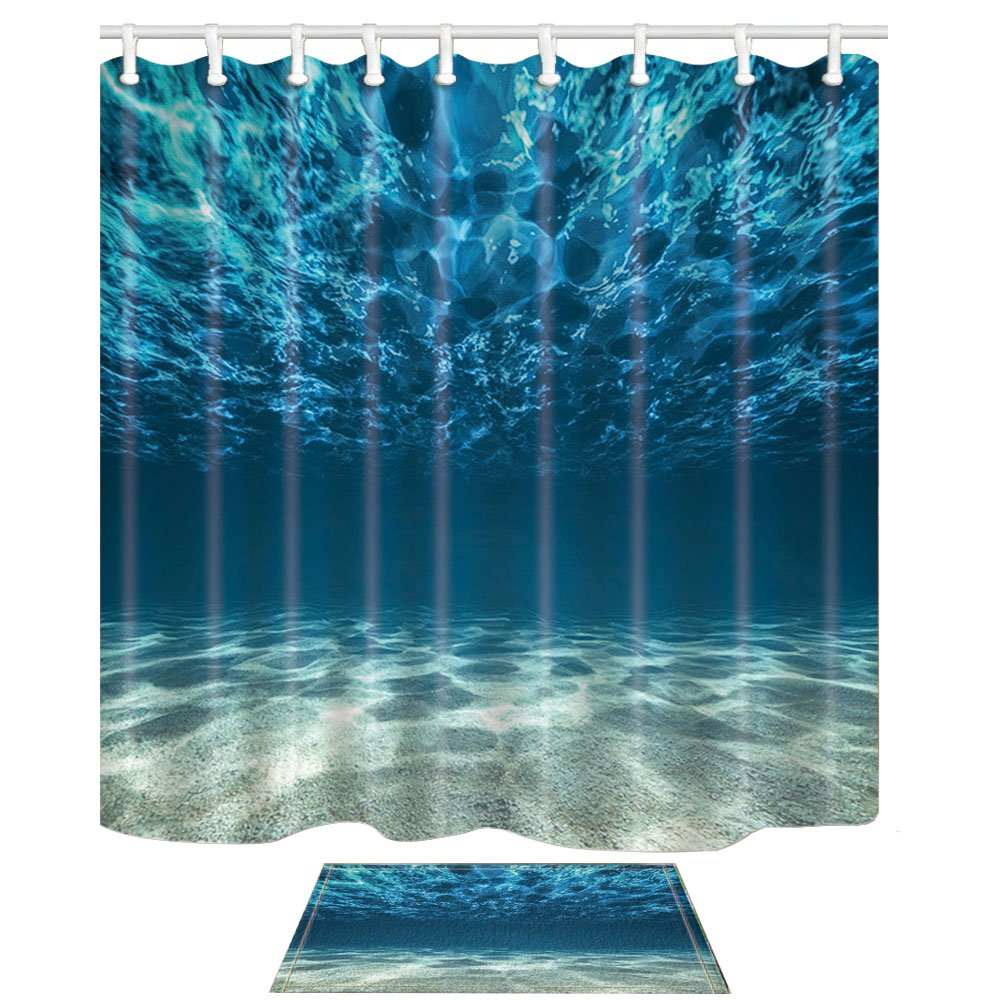 HNMQ Tropical Sea Shower Curtain Set, 3D Ocean Underwater Beach and Water View, 69X70in Mildew Resistant Polyester Fabric Bathroom Curtain Set With 15.7x23.6in Flannel Non-Slip Floor Doormat Bath Rugs