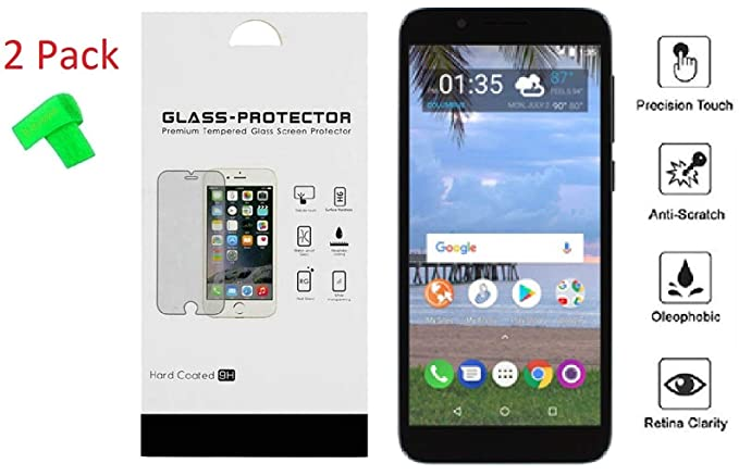 Alcatel TCL LX A502DL 2 Pack Tempered Glass Screen Protector Guard +  Extreme Band (Tempered Glass)