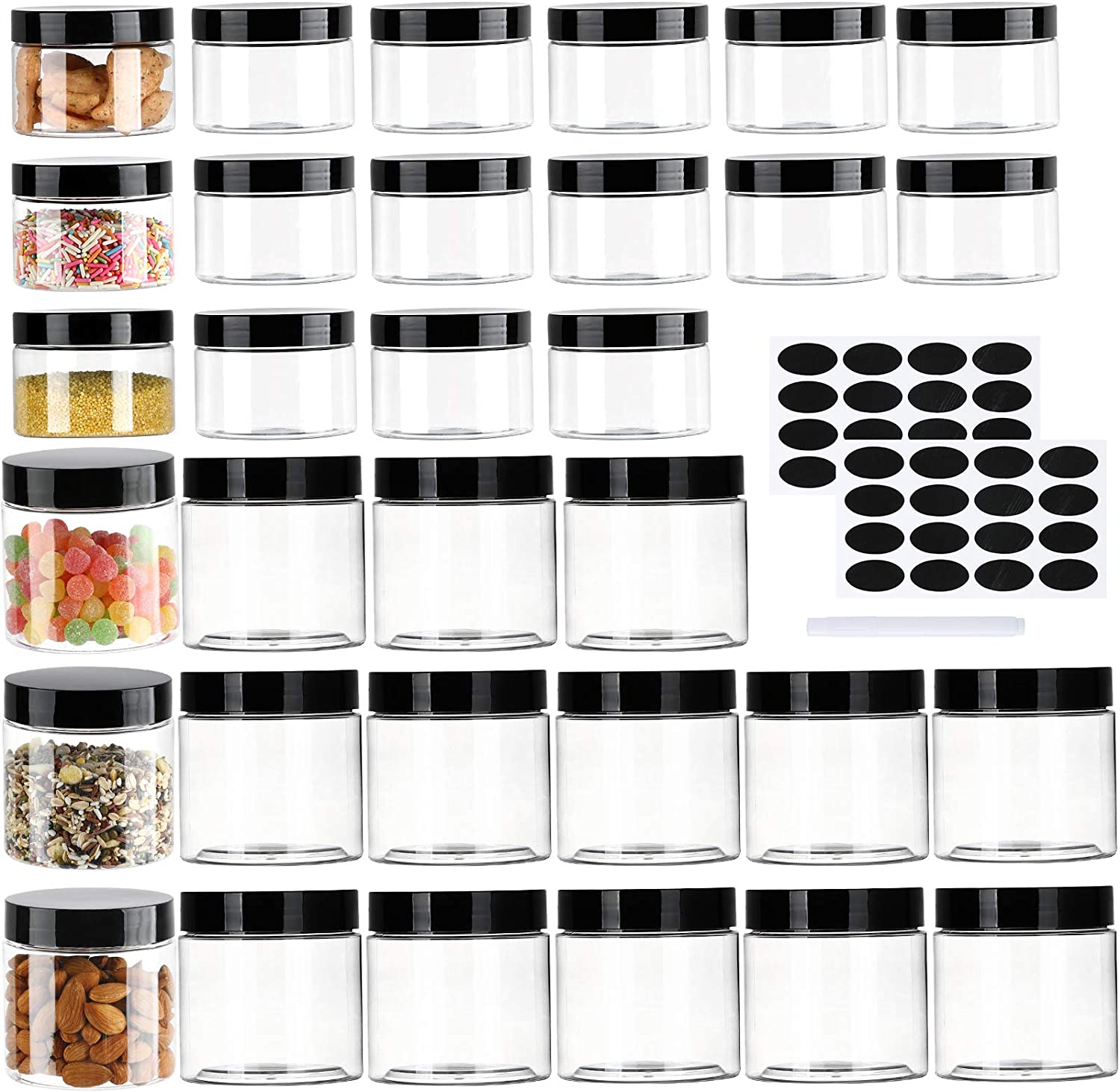 32 Pack Plastic Jars with Lids, 4oz + 12oz Clear Plastic Slime Containers Set for Kitchen Household Food Storage Dry Goods, Creams and More