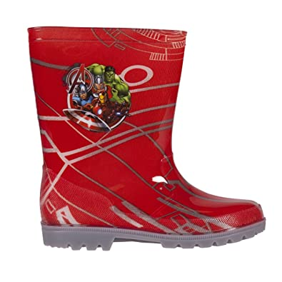 22bfe81dd67 Marvel The Avengers Kids Character LED Flashing Light Up Rubber Wellington  Rain Boots for Boys Slip-on Waterproof Welly Gumboots Shoes in Red Junior  ...